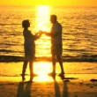 Royalty-Free Stock Vectorafbeeldingen: Romantic Senior Couple at Sunset