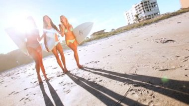 Girl Surfing Buddies — Stock Video
