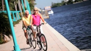 Active Cycling Seniors — Stock Video