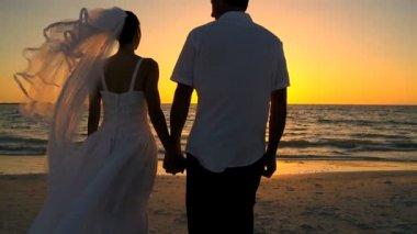 Sunset Beach Wedding — Stock Video
