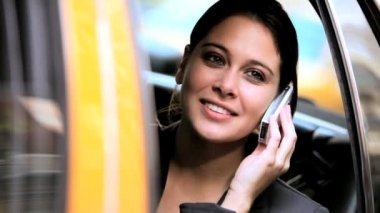 Female in Taxi with Cell Phone — Video Stock