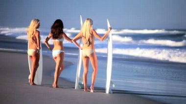 Surf Girls Modeling on the Beach — Stock Video