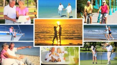 Montage of Leisure & Fitness in Retirement — Stockvideo