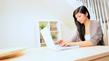 Asian Girl at Home With Laptop — Stock Video