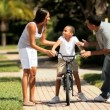 Boy Learning to Ride a Bicycle — Stok video