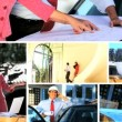 Montage Images of Architect Working with Client - 