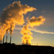 Power Station Chimneys Smoke at Sunrise — Stock Video #22751113