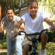 Boy Learning to Ride a Bicycle — Stockvideo
