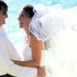 Stock Video: Oceanside Wedding Couple in Close-up