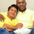African-American Couple with Popcorn Watching TV — Stock Video