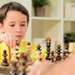 Little Caucasian Boy Playing Chess - Stockfoto
