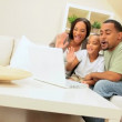 African-American Family Using Internet Webchat — Stock Video #22752967