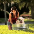 Caucasian Female Bathing Her Pet Bulldog — Stock Video