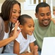 African-American Family Using Online Webchat — Stock Video #22753359