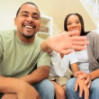 Ethnic Family Using Interactive Technology — Video Stock