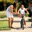 African-American Boy Learning to Ride — Stok video