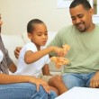 Young African-American Boy Playing with Parents — Vídeo de stock