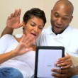 African-American Couple Using Interactive Technology — Stock Video