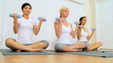 Multi-Ethnic Females at Fitness Studio — Stock Video
