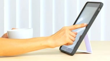 Hands Using Wireless Touch Pad — Stock Video