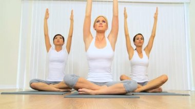 Yoga Class of Multi-Ethnic Females — Stock Video