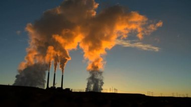 Power Station Pollution at Sunrise — Stock Video