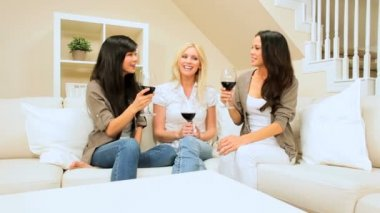Girlfriends at Home Drinking Wine — Stock Video