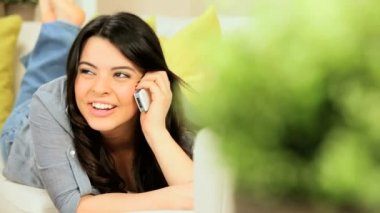 Pretty Girl at Home with Cell Phone — Stock Video