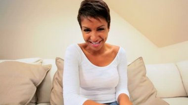Ethnic Female Using Internet Webchat — Stock Video