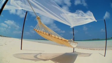 Swaying Hammock Over Paradise Beach — Stock Video