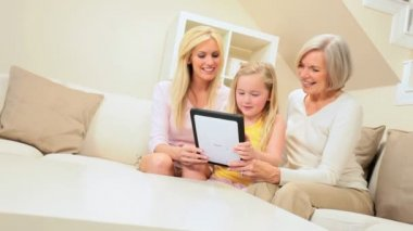 Three Generations Having Fun with Wireless Tablet — Stock Video