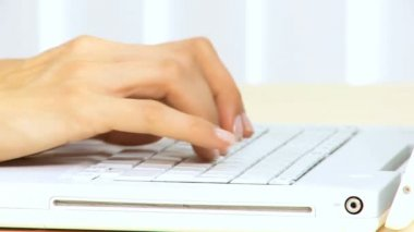 Female Hands Using Laptop Keyboard — Stock Video