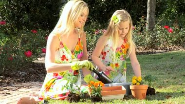 Mother & Daughter Potting Plants — Stock Video