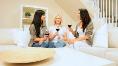 Girlfriends in Home Setting Drinking Wine — Stock Video