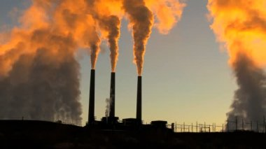 Power Station Chimneys Smoke at Sunrise — Stock Video
