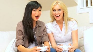 Girlfriends Using Games Console — Stock Video