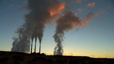 Power Station Chimneys in Silhouette — Stock Video