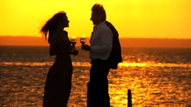 Elegant Couple at Sunset with a Glass of Wine — Stock Video