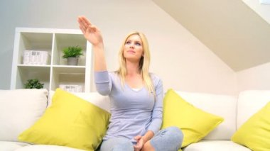 Blonde Female Demonstrating Use of Touch Screen — Stock Video