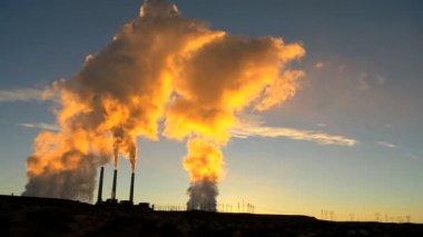 Steam Generating Power Station at Sunrise — Stock Video