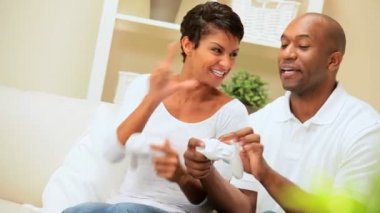 Ethnic Couple Having Fun with Games Console — Stock Video