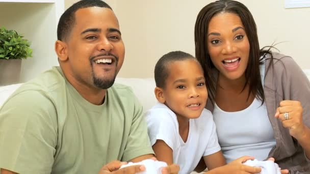 African-American Family Playing on Games Console — Vidéo
