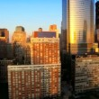 Aerial view of the Financial District of Manhattan at Sunset, NY, USA — Stock Video #23175342