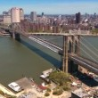Aerial view of Manhattan the Financial District and Brooklyn Bridge, NY,USA — Stock Video #23175372