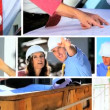 Montage of Architect Showing Client Building Progress - Stockfoto