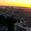 Aerial scenic view of urban New Jersey at Sunset, NY, USA - ストック写真