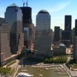 Stock Video: Aerial view of Midtown Manhattan, along Hudson River, NY, USA