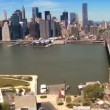 Aerial view of the Brooklyn Bridge Downtown Manhattan, NY, USA — Stock Video