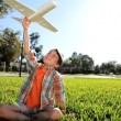 Young Boys Flying Dreams with Homemade Glider - Stockfoto
