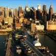 Stock Video: Aerial view of New Yorks many Piers in Financial District of Manhattan, USA
